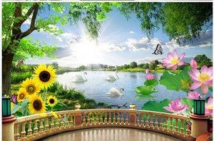 Красивые природные пейзажи обои лебединое озеро обои современный 3D стерео балкон фона стены