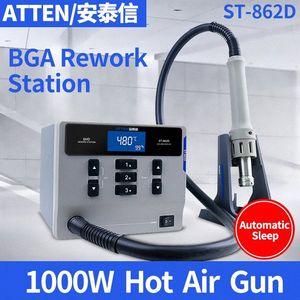 Exibição ATTEN St-862d 1000W Hot Air Gun Digital BGA Estação Retrabalho automática sono Mobile Phone Repair Desoldering Station 8Rak #