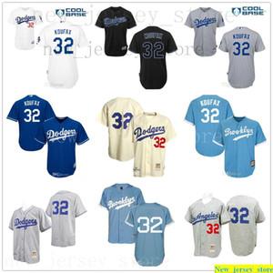 Light Gray creme azul retro Sandy Koufax Jersey Mens Mulheres Crianças # 32 Mitchell E Ness Top Quality costurado Youth Baseball Jersey