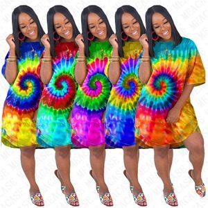 Tie Dye Color Women's Dress Summer Designer Oversize Loose Dresses Short Sleeve Long Tshirt Skirt Bikinis Cover Rainbow Colors NEW D71611
