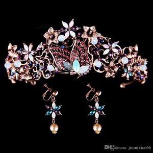 New Western Brincos estilo noiva noiva coroa de touca de cabelo coroa jóias exóticas