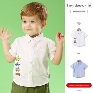 Zero real children's Children's clothing Sticker shirt clothing 2020 Summer new cute sticker car boy short sleeve shirt 2203