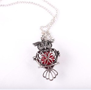 2020Essential Oil Diffuser Perfume Jewelry Ancient Silver Owl Pendant Necklace Chain Lockets Necklace for Women Drop Shipping