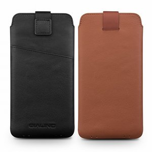 2020 Genuine Leather Pull Sleeve Pouch Bags Cover Natural Cowhide Phone Case For iPhone X XS 11 Pro Max Original Qialino Brand