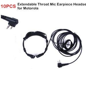 Tubo extensible 10PCS Garganta Aire Auricular Micrófono Auricular PTT para Motorola GP88 de radio GP300 EP450 Mag One A8 CP200 CP185