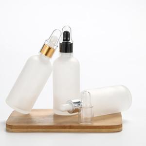 Beyaz Buzlu Cam Damlalık Şişe 50ML 100ML Gümüş Cap Altın Siyah Kapak Kozmetik / Lot Esansiyel Yağ Şişeleri 15pcs Packaging boşaltın