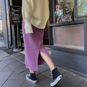 Tricotée One-Step court longueur d'automne-hiver A- ligne haute cintrée noire à une étape jupe fendue de la jupe