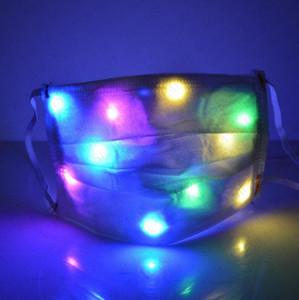 LED партии Маски для Женщины Мужчины Бар Luminous Face Mask для взрослых Маски для лица Радуга Цвет света Изменение Ночной клуб Маски защитные крышки D72108