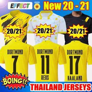 2020 2021 Borussia Dortmund BVB Soccer Jerseys Camisolas de Futebol 17 HAALAND REYNA 20 21 PERIGO REUS WITSEL Jersey PACO ALCACER Camisa de Futebol Crianças Kit Meias