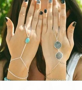 Wholesale-Celebrity Multi Chain Hand Slave Boho Turquoise Bead Tassel Bracelet Bangle Slave Finger Set Hand Harness Fashion