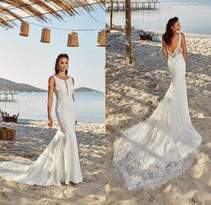 Eddy K Mermaid Wedding Dresses Sheer Neck Lace Appliques Bridal Gowns Beach Sweep Train Backless Wedding Dress