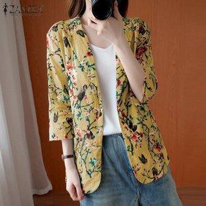 Stylish Blazers ZANZEA Women Autumn Lapel Neck Floral Printed Thin Coats Summer Bohemian Blazer Plus Size Outwear Top Jackets 7