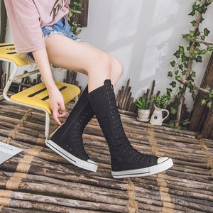 New Spring autumn Women Shoes Canvas Casual High Top Shoes Long Boots Lace-Up Zipper Comfortable Flat boots sneakers 201201