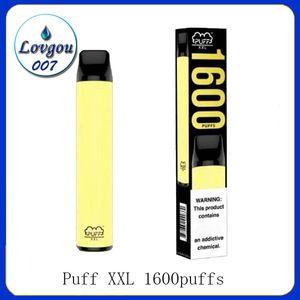 최신 PUFF XXL 1600 퍼프 일회용 장치 Vape 펜 미리 채워진 증기 전자 CIGS 담배 휴대용 시스템 스타터 퍼프 흐름을 명중