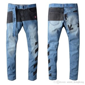 New Arrival Mens Designer Jeans Belt Style Washing Jeans Fashion Stripes Mens Jeans Motorcycle Biker Causal Hip Hop Hot Sold US Size 28-40