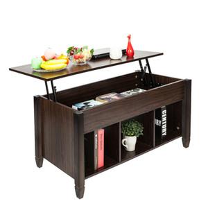 رفع طاولة القهوة مع التخزين الخفية الرف شعرية مساحة التخزين أقدام الخشب الصلب غرفة المعيشة طاولة القهوة الأثاث براون