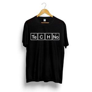 Techno Слоган печати Футболка Периодическая таблица Графический дизайн Музыка Tee House Top Summer Fashion Streetwear Camiseta Masculina