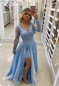 2021 Prom Dresses with Side Split Long Overskirts Cocktail Party Gowns V Neck Long Sleeves Evening Dress