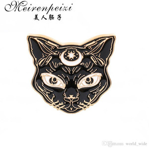 Classic Mystical Sphynx gothic Witch Cat Brooch Lapel Pin Animal Jewelry Clothing Accessories Gift For Her His