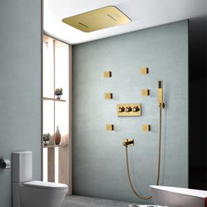 욕실 스마트 뮤직 샤워는 강우 폭포 샤워기 현대 LED 샤워 세트 골드 컬러 304SUS 샤워 패널을 설정합니다