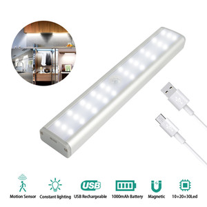 LED Rechargeable Closet Light Dimmable Wireless Motion Sensor 30 LED Under Cabinet Lighting USB Rechargeable night light