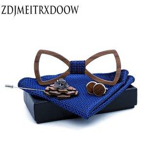 Paisley Деревянного Bow Tie Set носового платок Мужская плед Боути Вуд вырезать Цветочный дизайн и коробка новизны способа связи