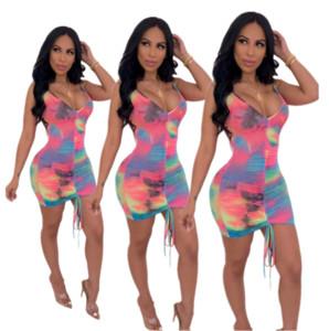 2020 estate donne slip Dress Tie Dye aderente Gonna pieghettato modo del progettista mini abiti senza maniche sexy Gonne Night Club Abbigliamento LY7282