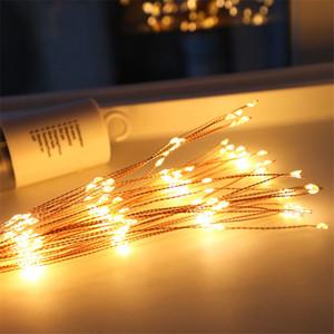 الألعاب النارية LED النحاس ضوء سلسلة باقة الشكل LED سلسلة أضواء بطارية تعمل أضواء الديكور مع جهاز التحكم عن بعد لحفلات الزفاف