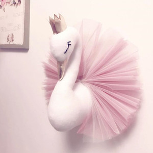 Baby Girl Room Decor Plush Animal Head Swan Wall Home Decoration Baby Stuffed Toys Girls Bedroom Accessories Kids Child Gift T200624