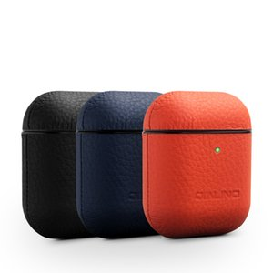 Original QIALINO Genuine Leather Case For Apple Airpods Luxury Fashion Protective Shell Bag Case Cover For Airpods 2 and 1