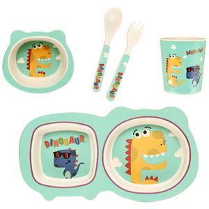 5Pcs Set Baby Feeding Tableware Set Bamboo Fiber Cartoon Children Dishes Tableware Dinnerware Kids Bowl Fork Spoon Cup Plate Set