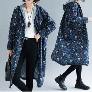 Plus size 4XL Autumn Fashion Hooded Print Trench coat Women Long Cotton Linen Loose Windbreaker Sweatshirt Outerwear Female Top