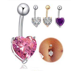 Moda Mujeres botón del corazón de la forma del vientre del Rhinestone cristalino perforación del cuerpo del ombligo de la joyería los anillos del ombligo del cuerpo Accesorios Charm
