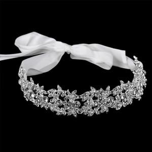 Acessórios de cabelo do casamento KMVEXO Handmade nupcial Headband Tiara de cristal elegante da fita Jóias headpiece strass Mulheres Cabelo