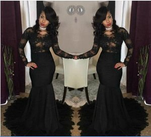 2020 Sexy Illusion African Black Prom Dresses Mermaid Jewel Neck Lace Appliques Long Sleeves Evening Gowns African Girls Party Wear BA7785