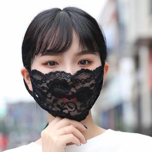 Stok Nakış Dantel Face In Yetişkin Rahat Yıkanabilir Ağız Yüz Kapak Moda Kız Siyah / Beyaz Parti Maskesi Maske FY9074 Maske