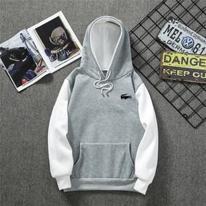Männer 2020 der Herbst-Männer Hoodies Sweatshirts Baumwolle Langarm Lustige Packetwork Weiß beiläufige neue Marke LACOSTE Hoody für Mann