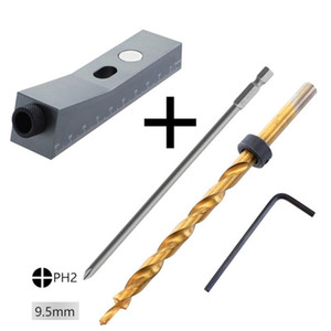 Hole Jig Kit Carpentry Pocket DIY Woodworking Oblique Tools Hand Magnetic Home Non-Slip Aluminum Alloy Locator Drill Bit