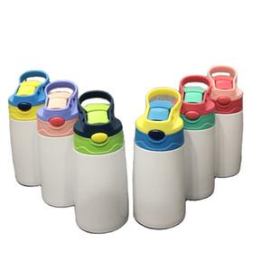 Neue leere Sublimation sippy Schale 350ml Kind Wasserflasche Wärmeübertragung beschichtet Cartoon doppelwandige Edelstahl Kinder Wasserschale Stroh