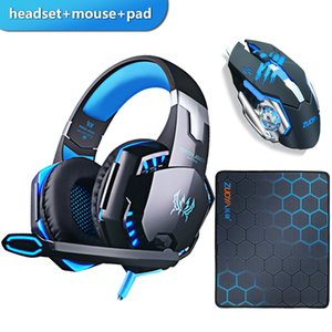 Gaming Headset Headphones with microphone Stereo Earphone+Gaming Mouse Mice 4000 DPI Wired USB Optical for PC+mosue pad gift