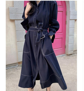 Mulheres Estilo coreano moda do Trench vestido trespassado com Belt Office Lady vestidos longos Primavera Outono Manto elegante