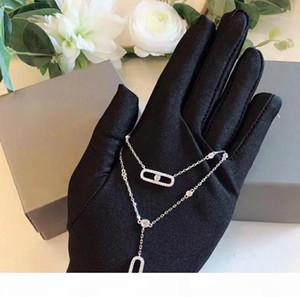 das mulheres Colar Designer MOVIMENTO Jóias S925 Sterling Silver removível Pendant Necklace Colar de Prata Moda Temperamento Duplo