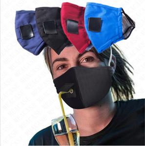 Pamuk Yüz Straw İçecek Maskeler Unisex Yıkanabilir çift Katmanlar toz geçirmez Yarım Yüz Kapak Bisiklet Koşu D71512 için Katı Renk Maske Ayarlanabilir