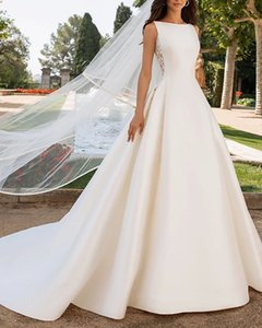 A-Line Wedding Dresses Bateau Neck Court Train Satin Regular Straps Romantic Plus Size Elegant with Bow(s) Buttons Lace Insert