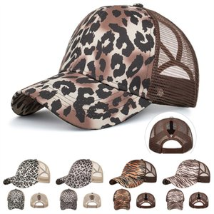 Women Ponytail Visor Cap Leopard Tiger Stripe Print Baseball Caps Back Hole Casquette Snapbacks Girls Horsetail Hats Adjustable Cap 2020 INS
