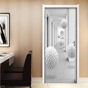 Дверь stickerDIY ПВХ самоклеящаяся стикером двери 3D Stereo Болл Лестница Коридор Водонепроницаемый обои Mural дверь спальни Home De