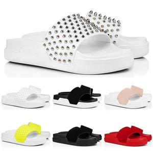 2020 red bottom leather slippers slides flip flops sandals fashion men women red bottom spikes summer mens outdoor sandals