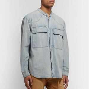 19SS FG High Street Vintage Denim Shirts Jacket Washed Men Women Tooling Outwear T Shirts Hip Hop Skateboard Fashion Tee