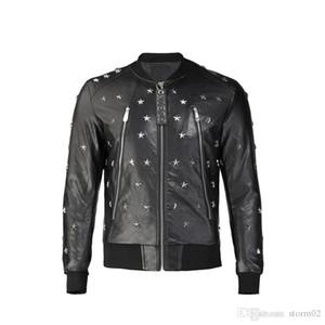 Men's jacket Korean version of the trend of men's wild gimmick letters European station pilot jacket PU leather mens designer jack