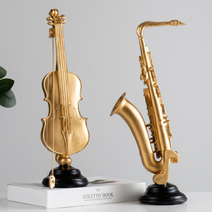 New Home Decoration Accessories Living Room Decoration Ornament Retro Violin Saxophone Statue Resin Ornament Vintage Home Decor T200710